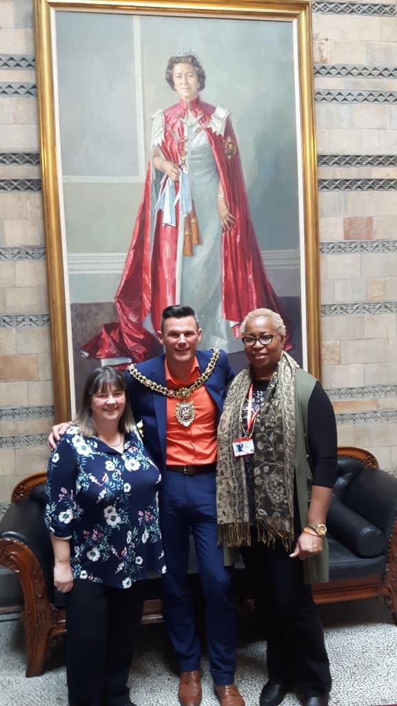 Heather Green, Lord Mayor Councillor Carl Austin-Behan and Charmain Sangster