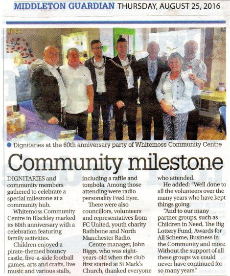 Middleton Guardian 60th.Anniversary Article 25th.August 2016